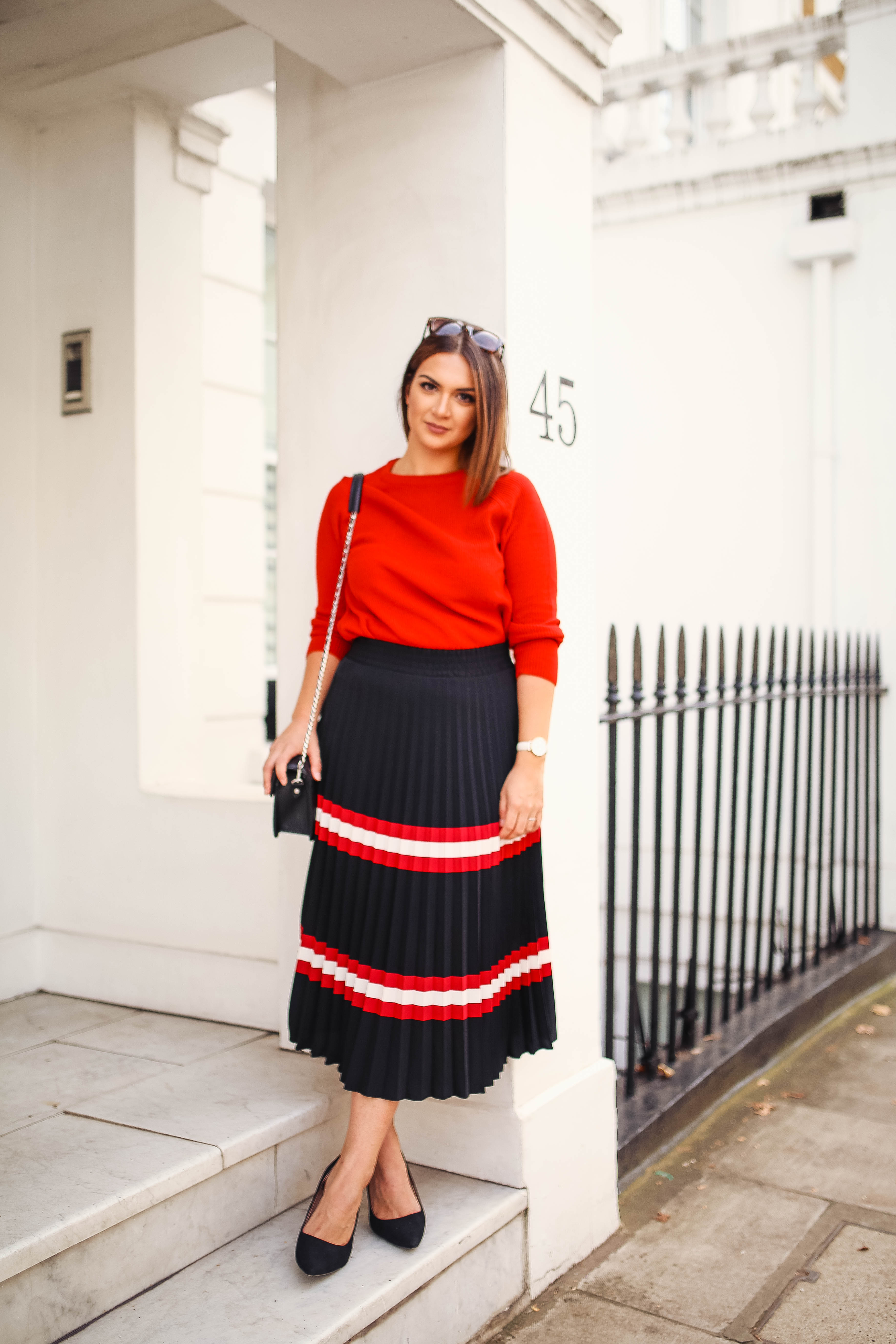 Note by Michelle wearing MANGO Stripes Pleated Midi Skirt | Knightsbridge