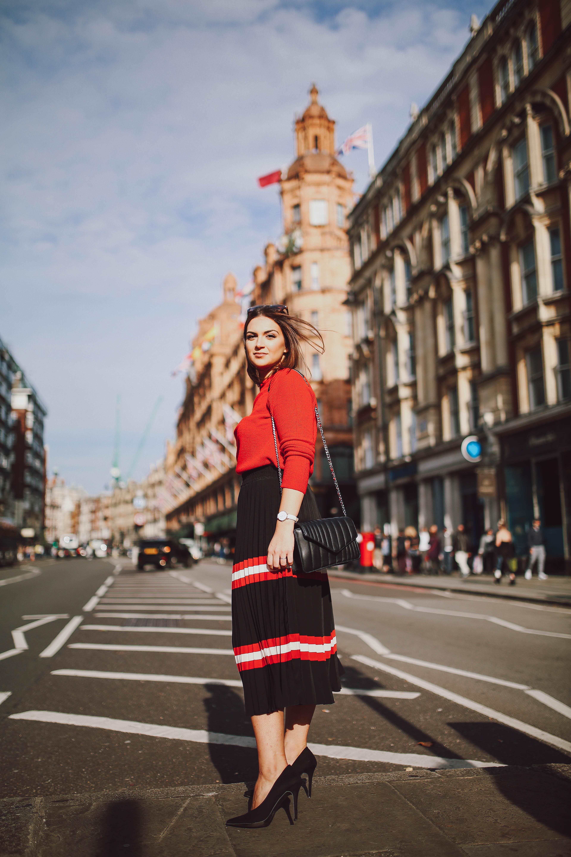 Note by Michelle wearing MANGO Stripes Pleated Midi Skirt | Harrods