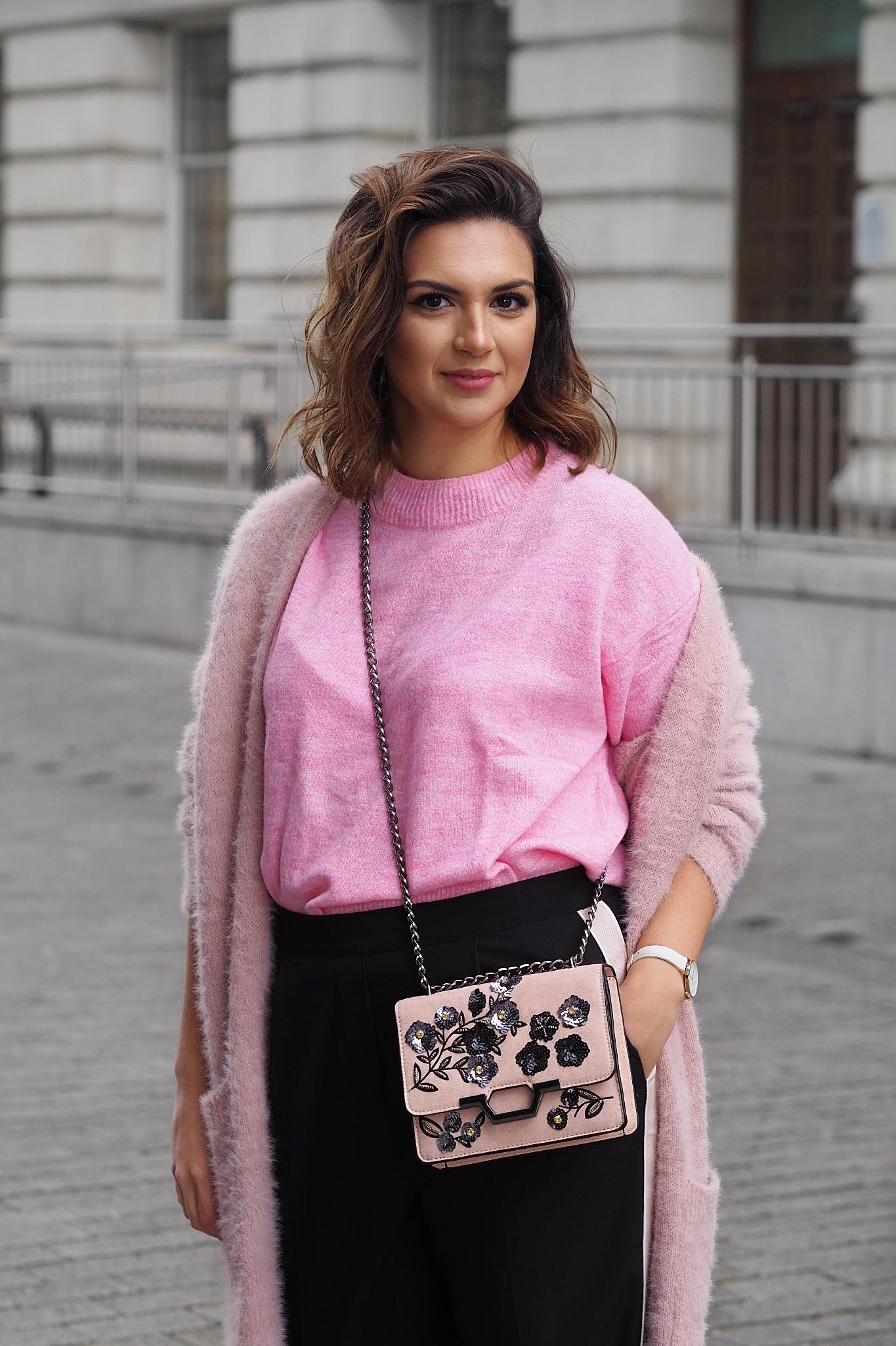 Side stripe luxe trousers pink
